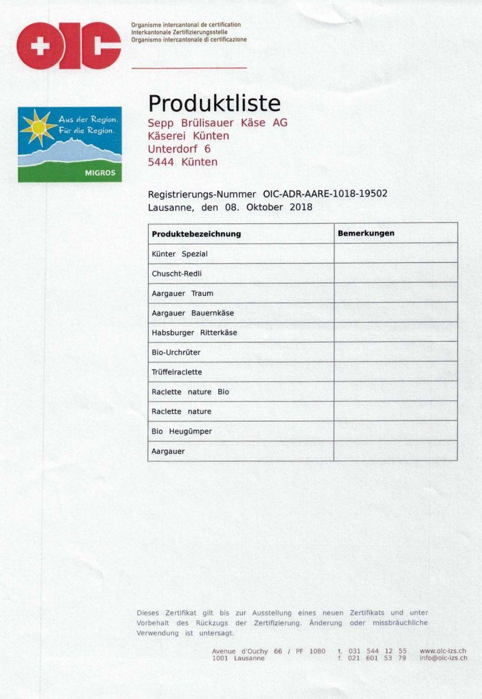 ADR Zertifikat Produkteliste