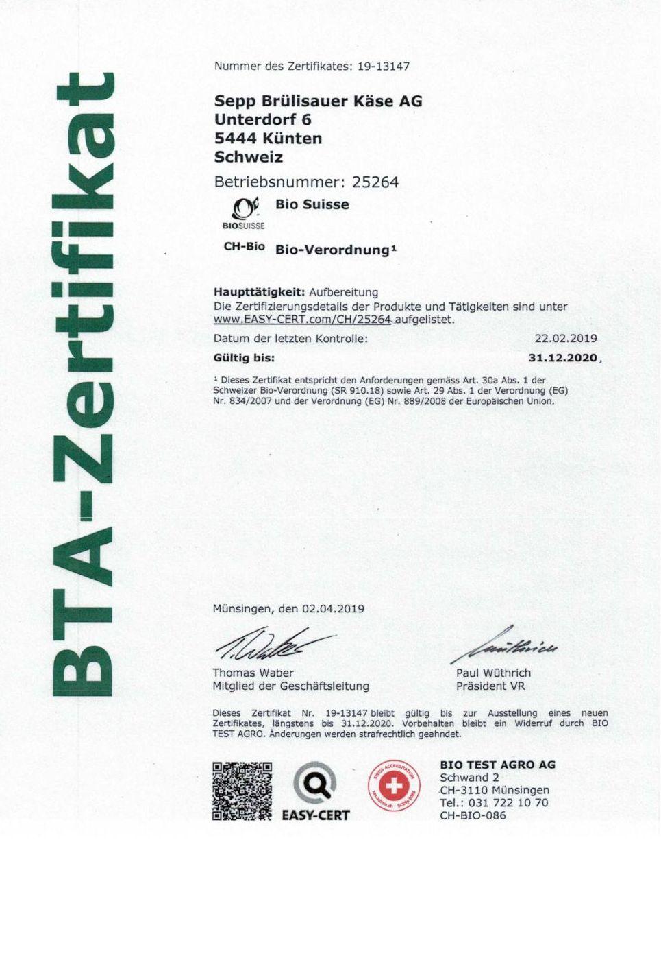 BTA Zertifikat