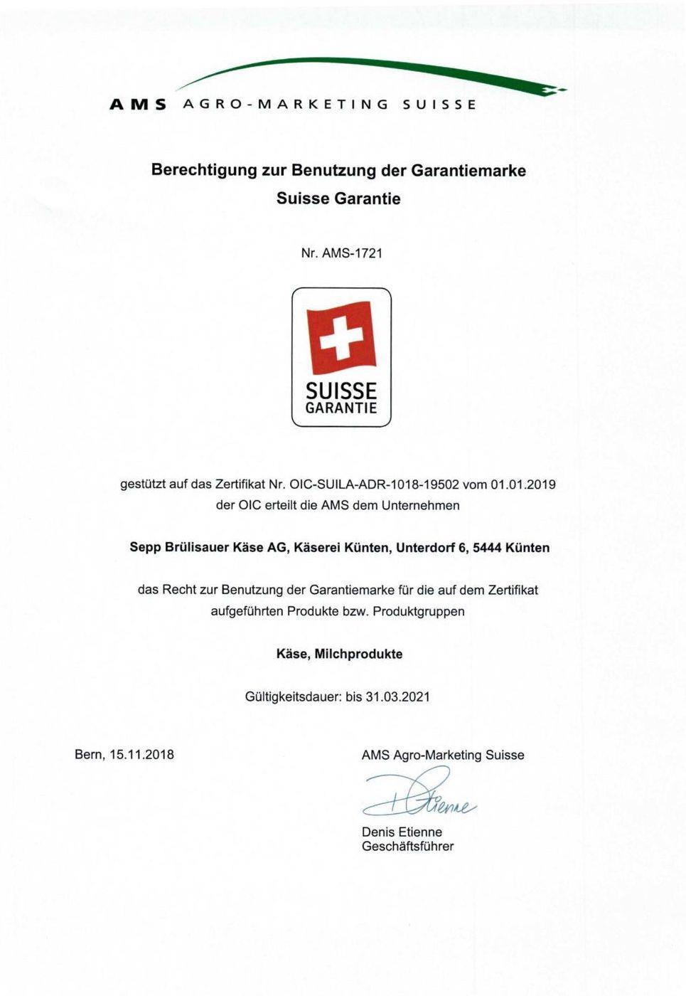 Zertifikat Suisse Garantie